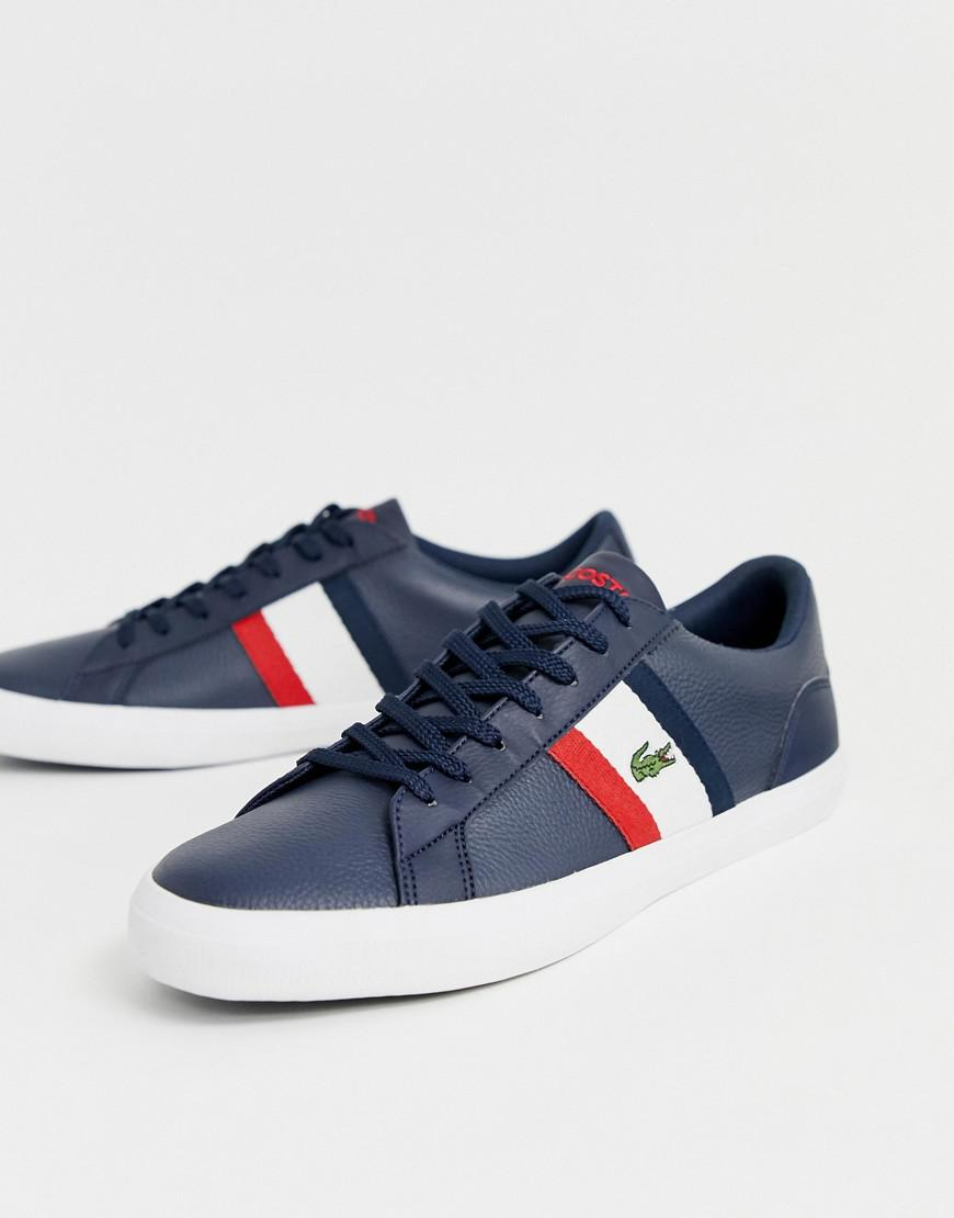 a21aa5ecb Lacoste Lerond Trainers With Side Stripe In Navy Leather in Blue for ...