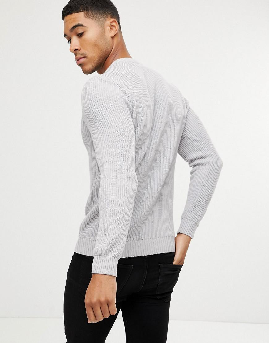 838643df751 Lyst - ASOS Midweight Ribbed Sweater In Gray in Gray for Men