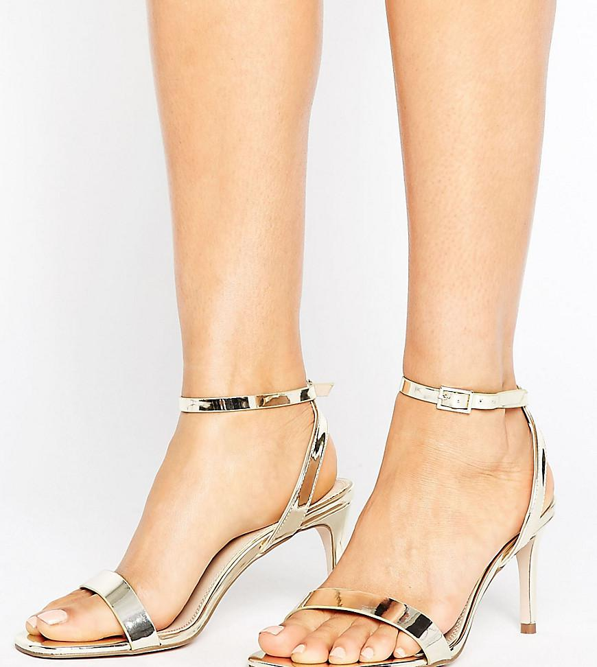 2496ec142454a ASOS Asos Hideaway Wide Fit Heeled Sandals in Metallic - Lyst