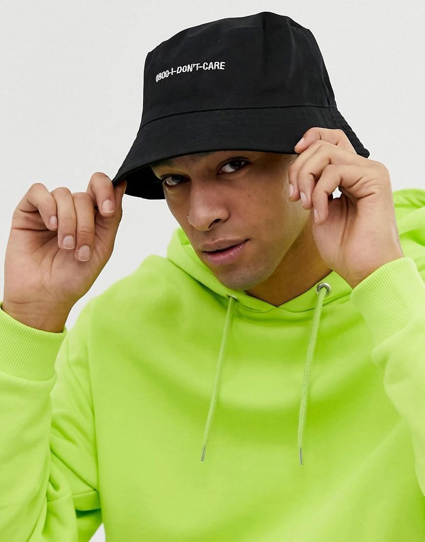 38e8c4f9 Lyst - ASOS Bucket Hat In Black With Slogan Embroidery in Black for Men