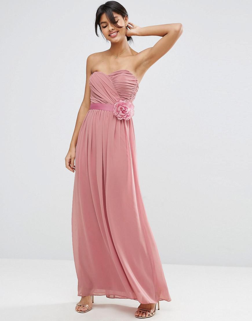 Lyst - Asos Design Bridesmaid Chiffon Bandeau Maxi Dress With ...