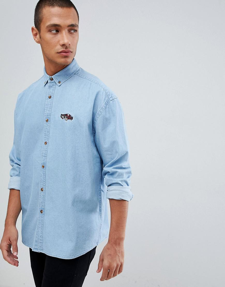 20b8fbf0f0897 ASOS - Blue Oversized Denim Shirt With Car Embroidery for Men - Lyst. View  fullscreen