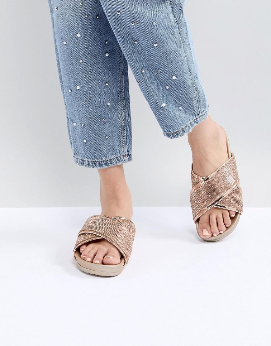 Public Desire Envy Glitter Cross Front Sandals