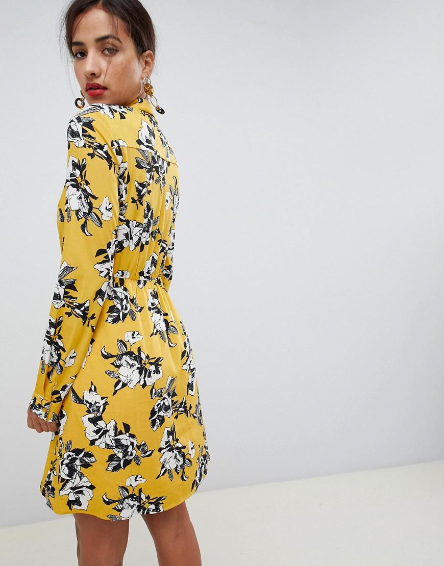 103045850fdd Lyst - Vila Long Sleeved Shirt Dress in Yellow