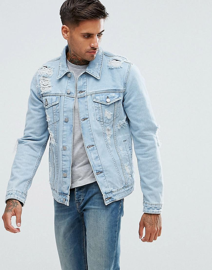61314a3adac75 ASOS Denim Jacket With Rips In Extreme Light Wash in Blue for Men - Lyst