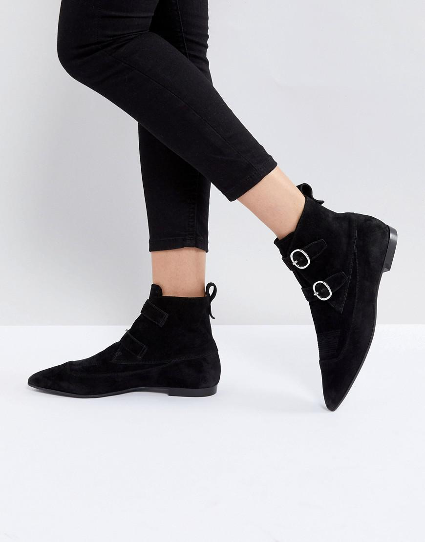 AllSaints Pointed Buckle Detail Boots in Suede Ol3kXY