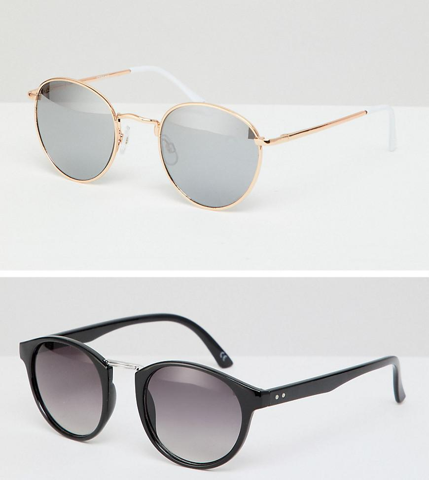 64df27a6a28e ASOS. Men s Round Sunglasses 2pk In Black With Smoke Lens   Rose Gold Metal  ...