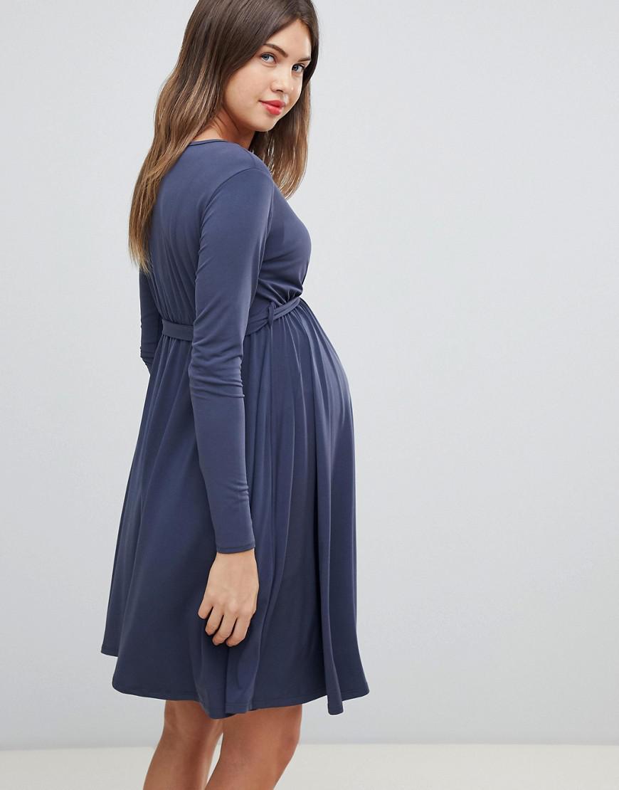6388d241b1582 Lyst - Bluebelle Maternity Nursing Long Sleeve Wrap Front Midi Dress In  Blue in Blue