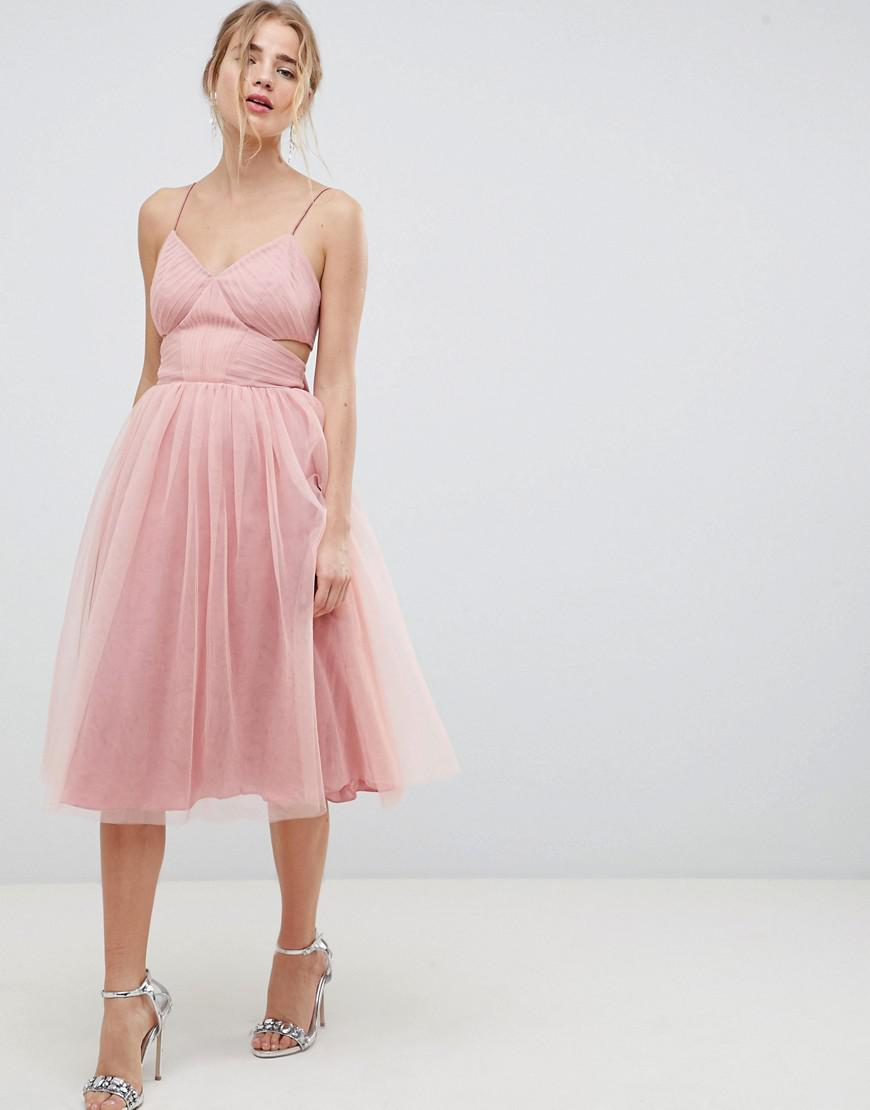 84134f9f504 ASOS Midi Tulle Prom Dress With Cut Out Sides And Bow in Pink - Lyst