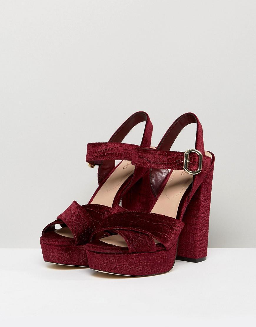 8d75fb69ec3c Lyst - ALDO Kaelah Velvet Platform Heeled Sandals in Red