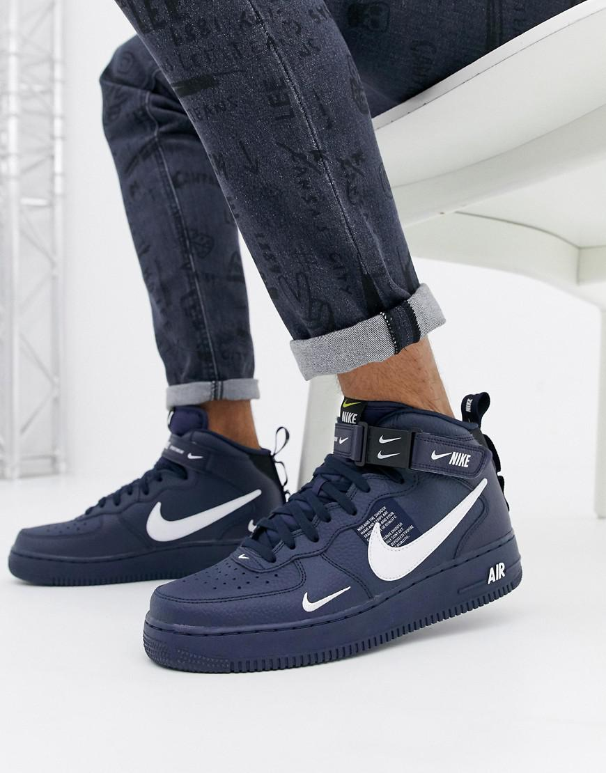 save off 9f393 b064c Nike Air Force 1 Mid  07 Trainers In Navy 804609-403 in Black for ...