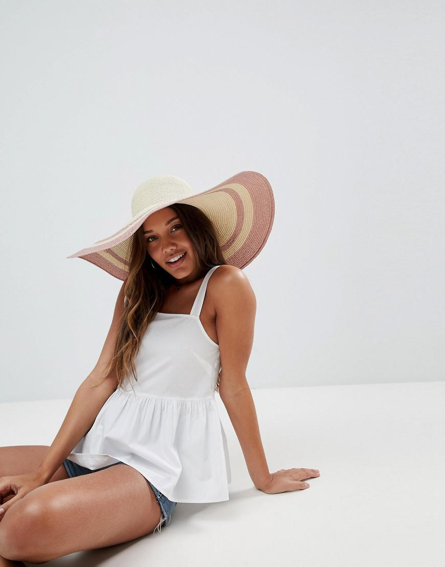 6db25dff8cc ASOS. Women s Natural Asos Straw Floppy Hat With Metallic Brim And Size  Adjuster
