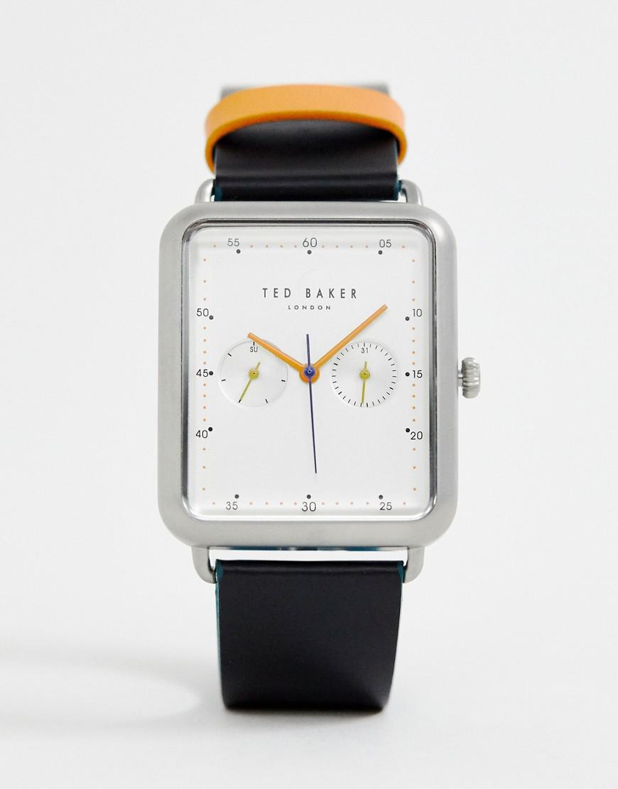 e9a917c85 Ted Baker Isaac Rectangular Leather Watch in Black for Men - Lyst