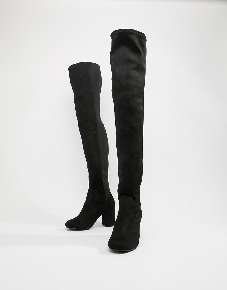 6618d0da48b Lyst - ASOS Wide Fit Extra Wide Leg Kadi Heeled Over The Knee Boots in Black