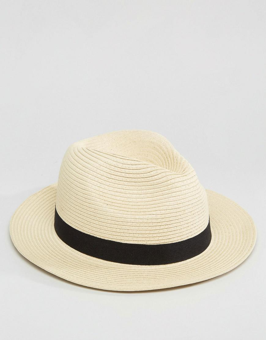 d5f93cddc0e Lyst - ASOS Straw Fedora Hat In Beige in Natural for Men