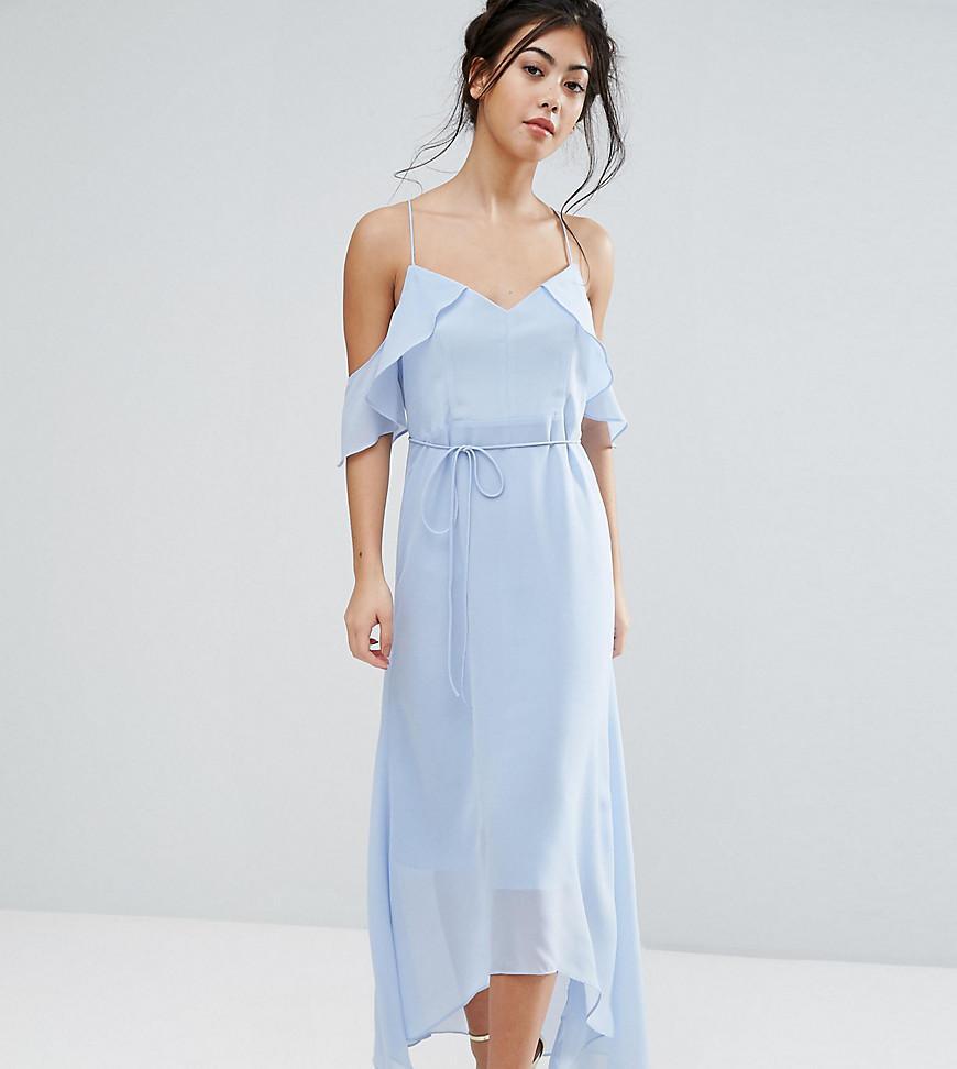 1730cedcae6 True Decadence Frill Cold Shoulder Cami Maxi Dress With Ruffle Hem ...