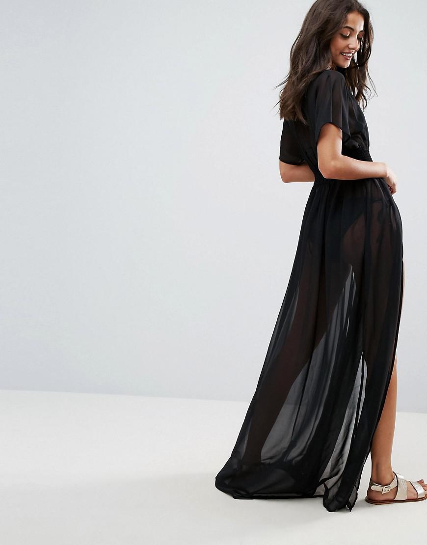 50190678eabea ASOS Asos Design Tall Shirred Waist Maxi Chiffon Beach Caftan in Black -  Lyst
