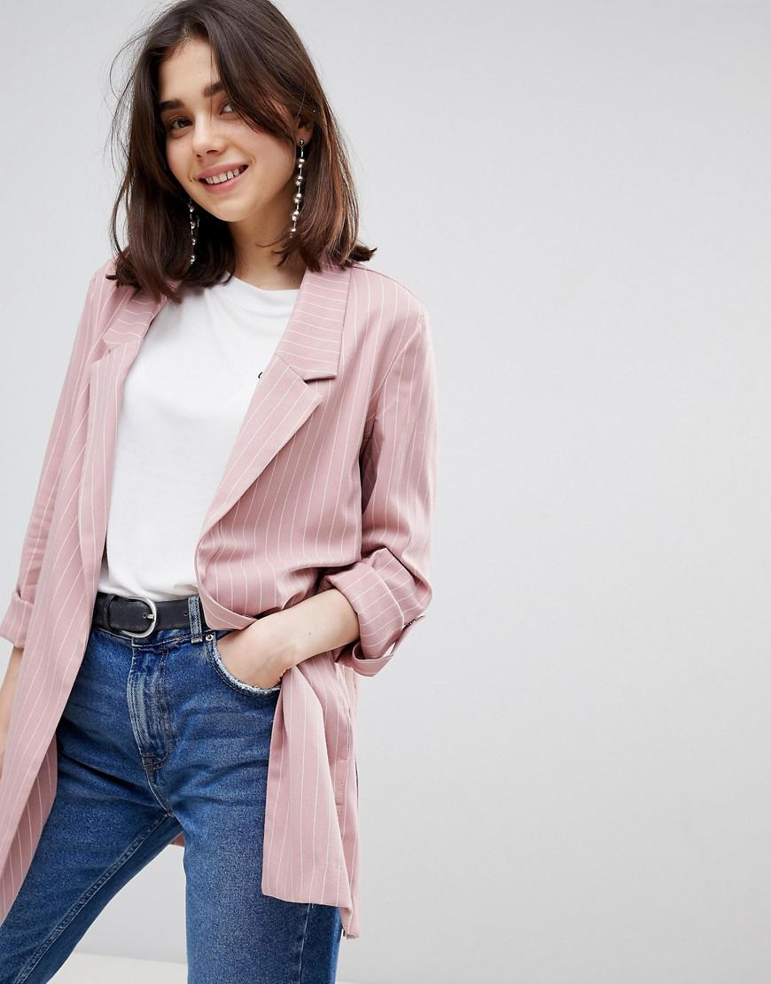 69d41e35a7f Lyst - Stradivarius Pinstripe Soft Tailored Blazer in Pink