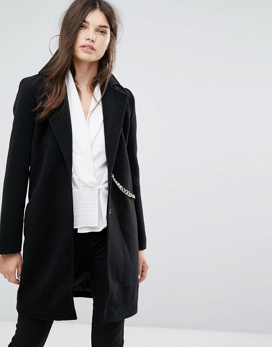 6d3eb293f8b9 Lyst - Missguided Chain Detail Faux Wool Coat Black in Black