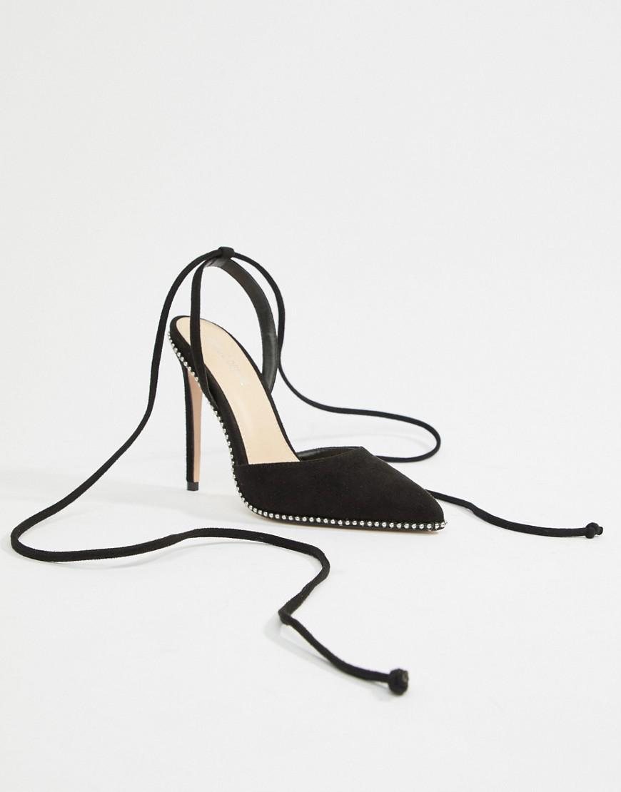e144127cafc Public Desire - Qween Black Studded Ankle Tie Heeled Shoes - Lyst. View  fullscreen