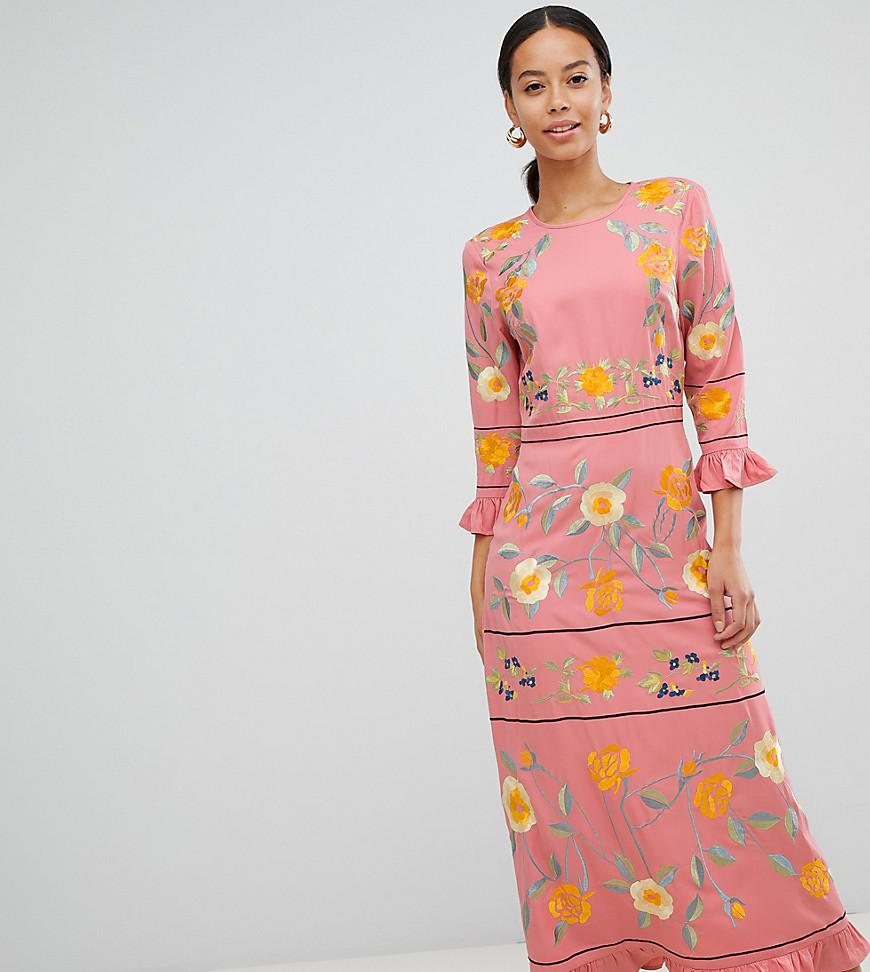7ffeb3dd05 ASOS Asos Design Tall Embroidered Midi Dress With Long Sleeves With ...