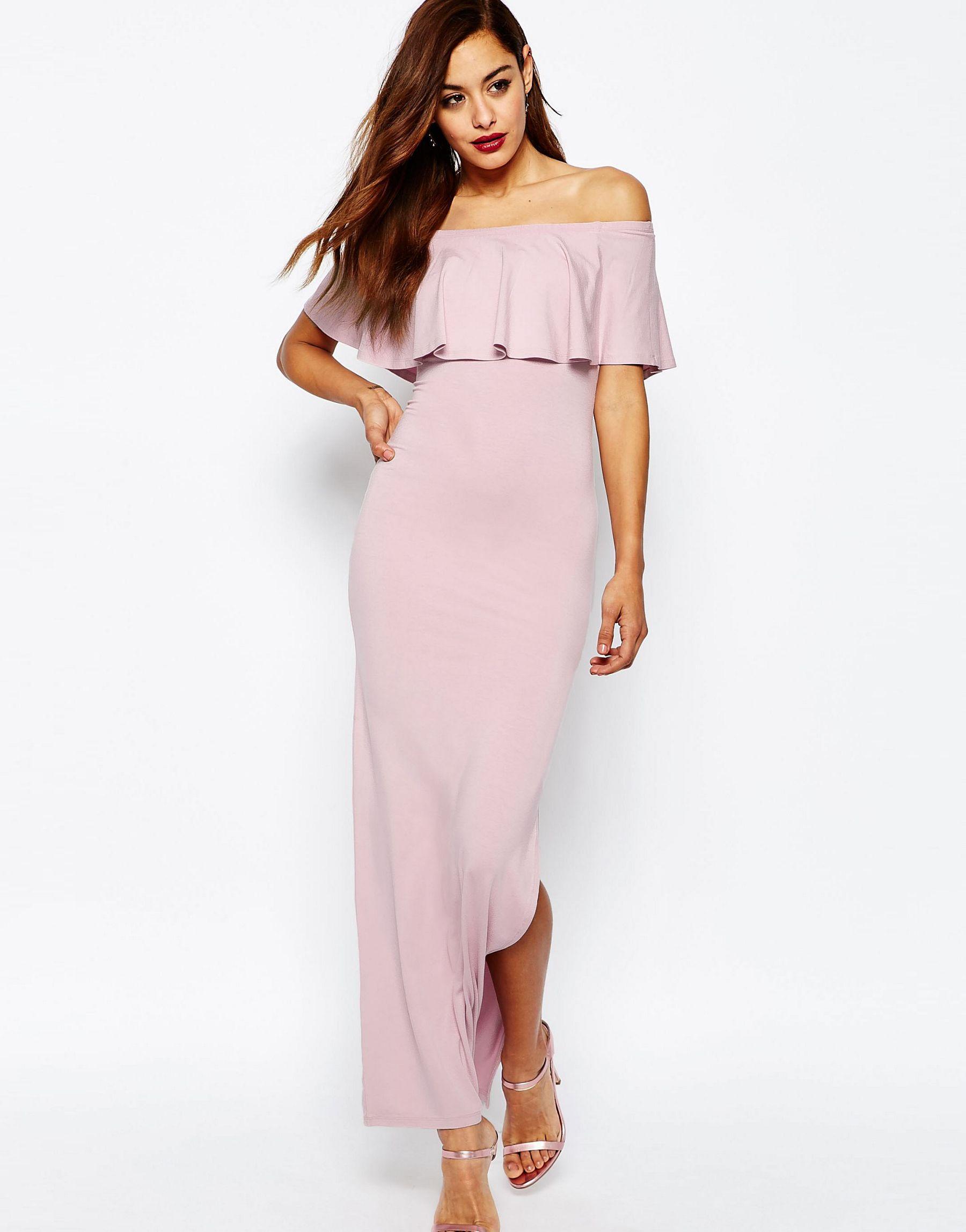 400f23ab7a1 ASOS Ruffle Off Shoulder Bardot Maxi Dress in Purple - Lyst