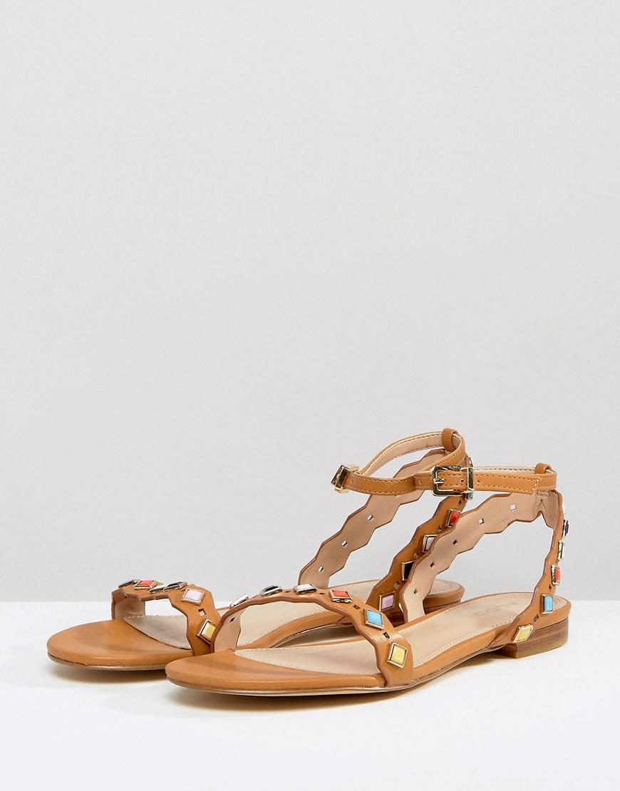 2ab4a6fd9ef6ec ALDO Amelie Tan Embellished Flat Sandals in Brown - Lyst