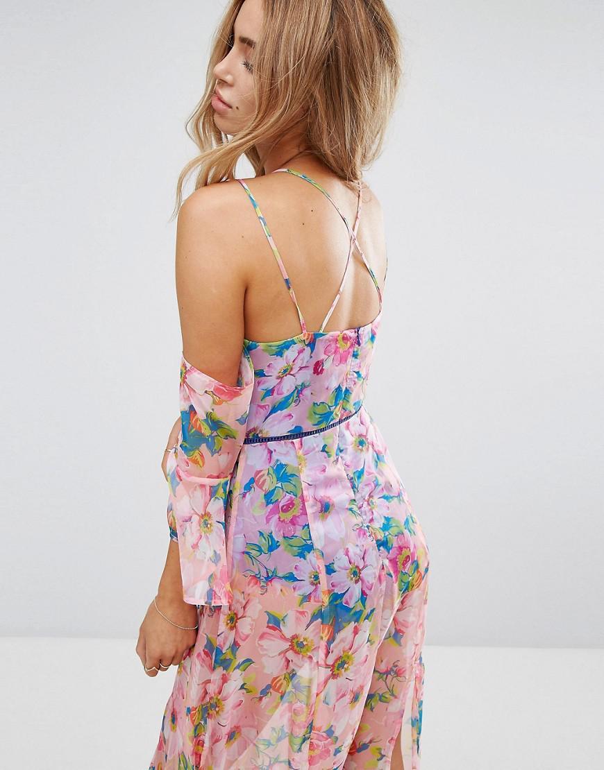4003400f6e7f Boohoo Cross Back Floral Maxi Dress in Blue - Lyst