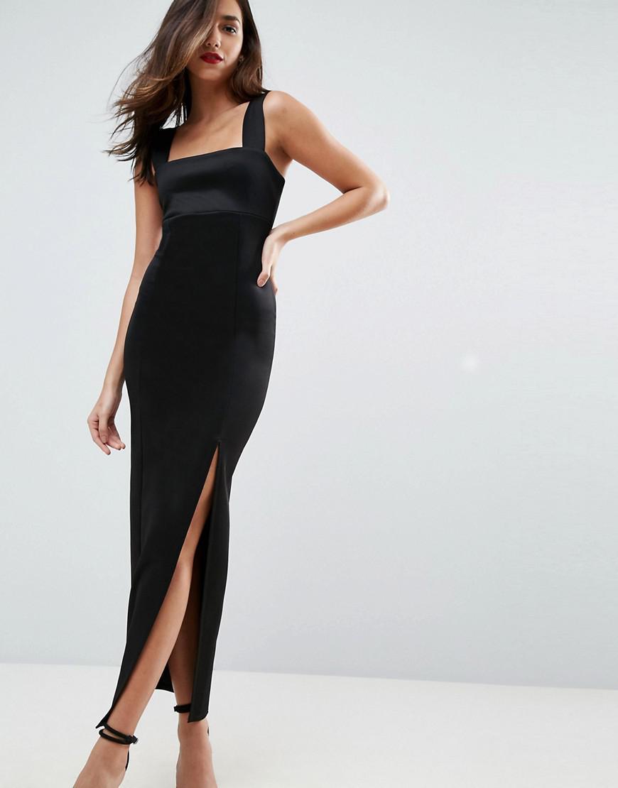 d86422b8328f Lyst - ASOS Square Neck Scuba Maxi Dress With Thigh Split in Black