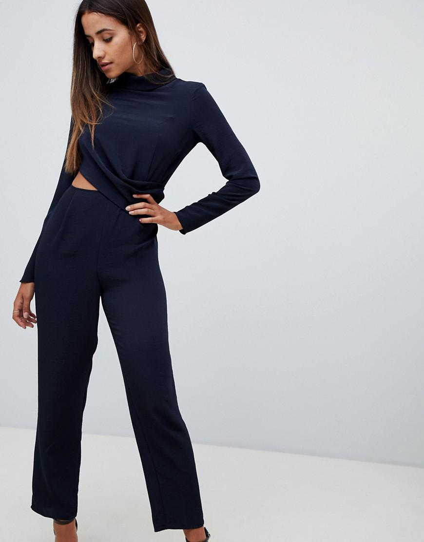 d5f642cf3ba Lyst - ASOS High Neck Jumpsuit With Twist Front And Cut Out Detail ...