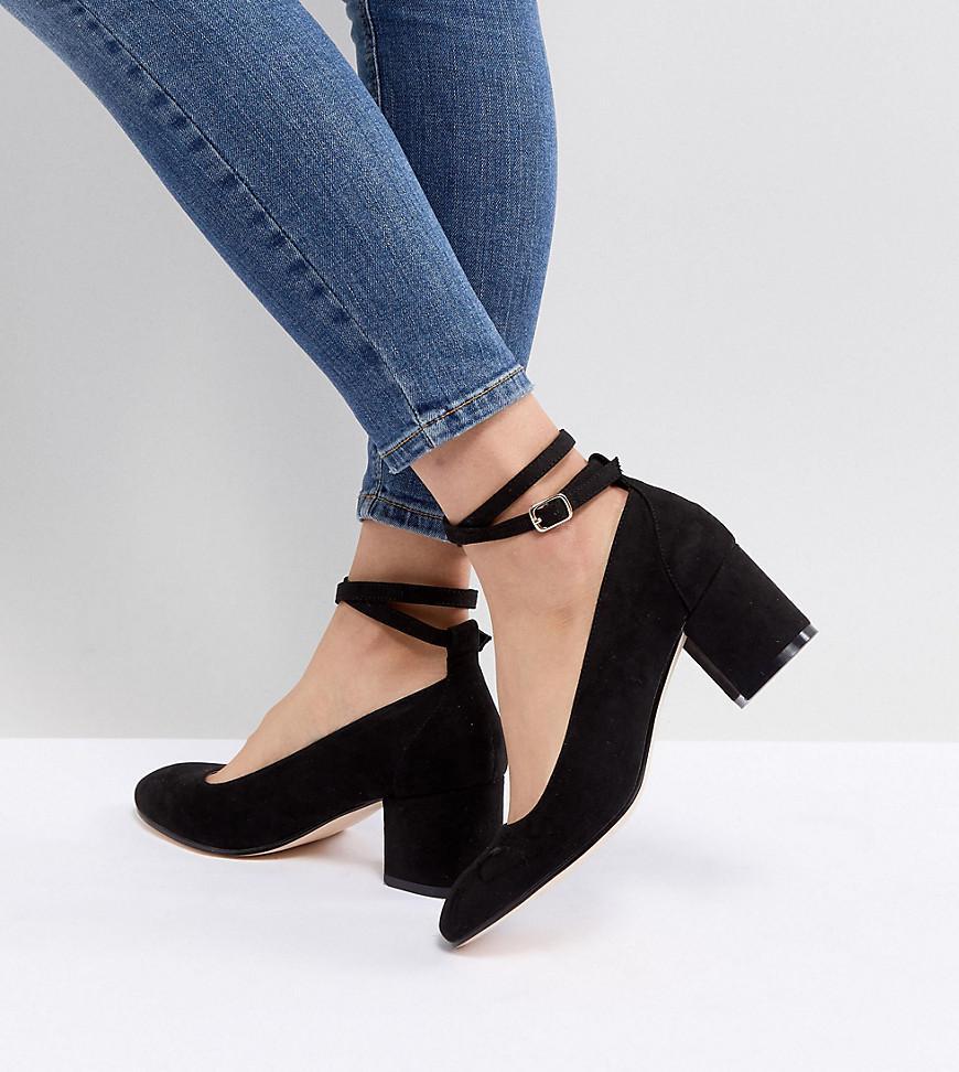 Wide Fit Mid Block Heeled Shoes - Black London Rebel CCBlKHb