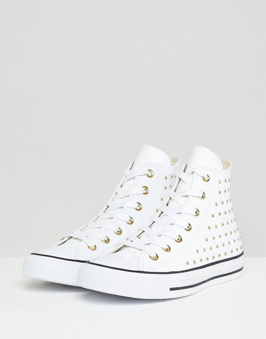 8cc3ad0bc875 Converse. Women s Chuck Taylor All Star Leather Studded Hi Trainers In White
