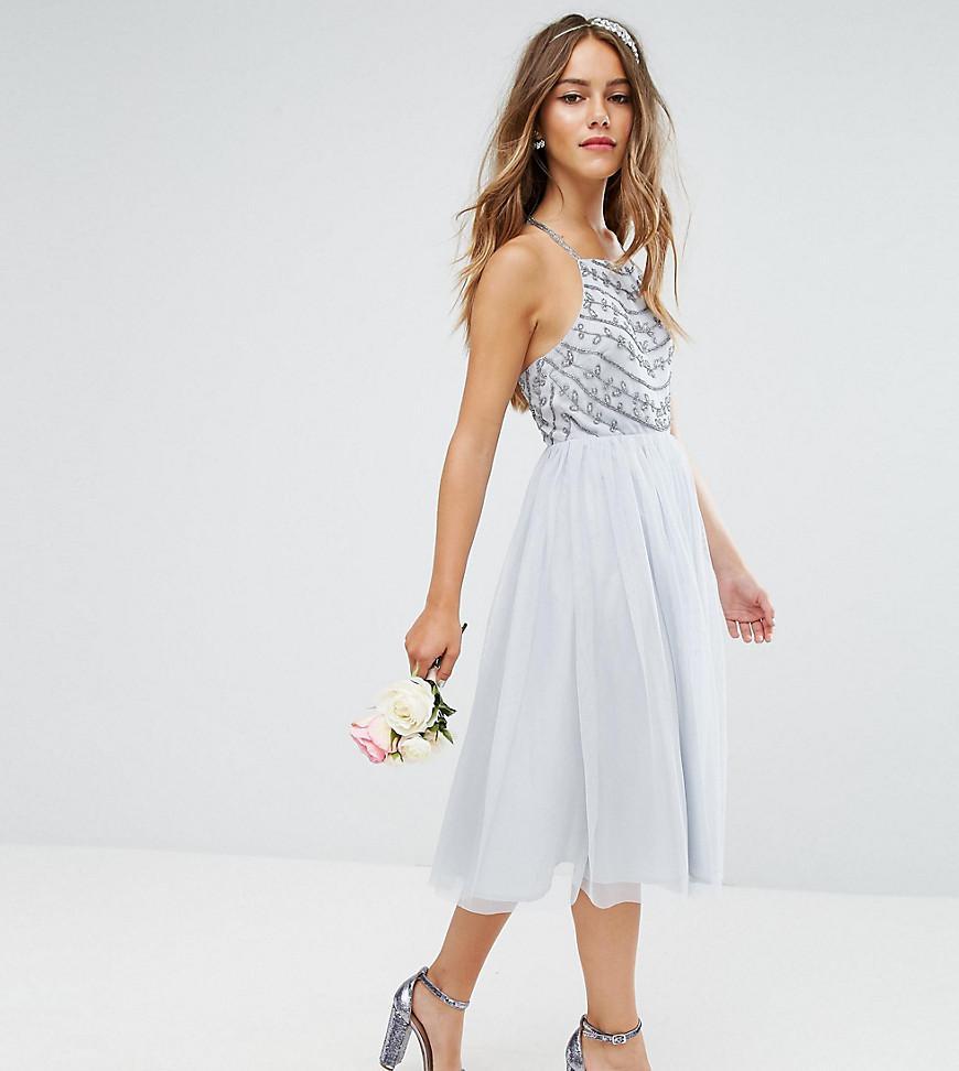 34854390a3 ASOS. Women s Gray Asos Design Petite Delicate Beaded Strappy Back Midi  Dress