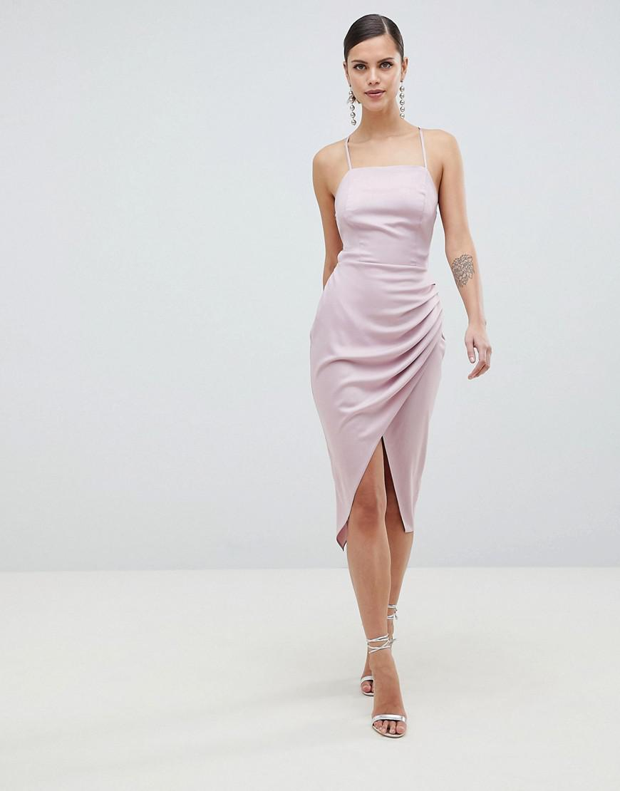 86d99cb1f9 ASOS Satin Ruched Side Midi Dress With Strappy Back in Natural - Lyst