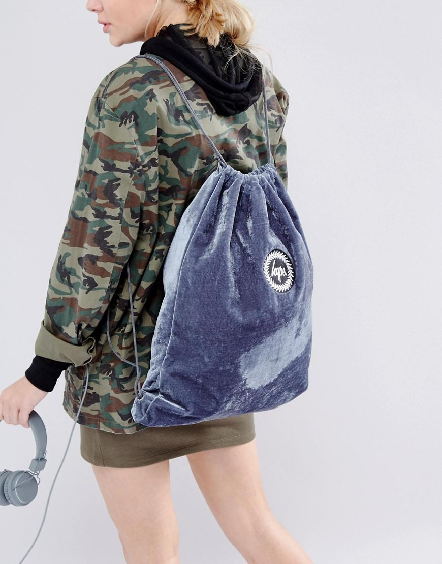 a7b1b543dc Hype Exclusive Grey Velvet Drawstring Backpack in Gray - Lyst