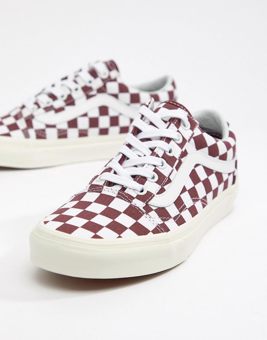 7231e8f07f0d Vans Burgundy Checkerboard Old Skool Sneakers in Red - Lyst