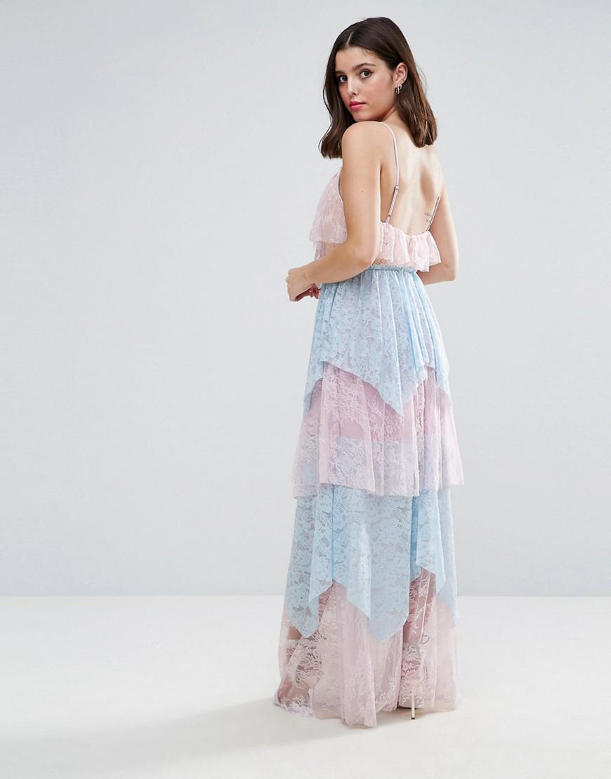 b591e8876f2 Lyst - True Decadence Allover Premium Lace Tiered Maxi Dress in Blue