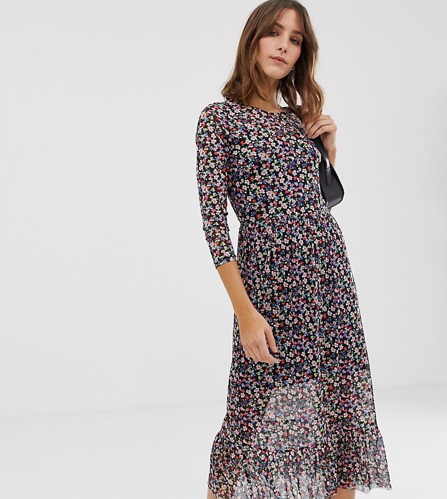 35f2e3d429 New Look Petite Floral Print Wrap Mesh Dress