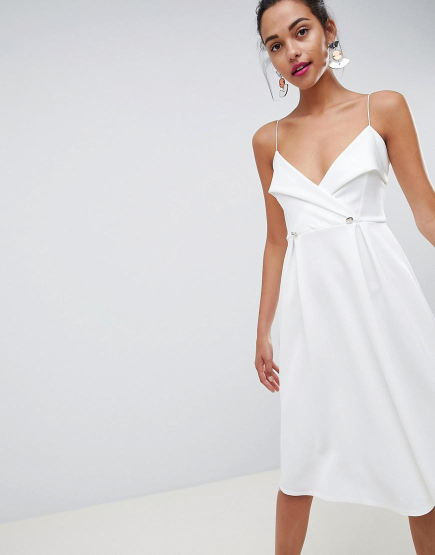27a645d17754 ASOS Tux Button Midi Prom Dress in White - Lyst