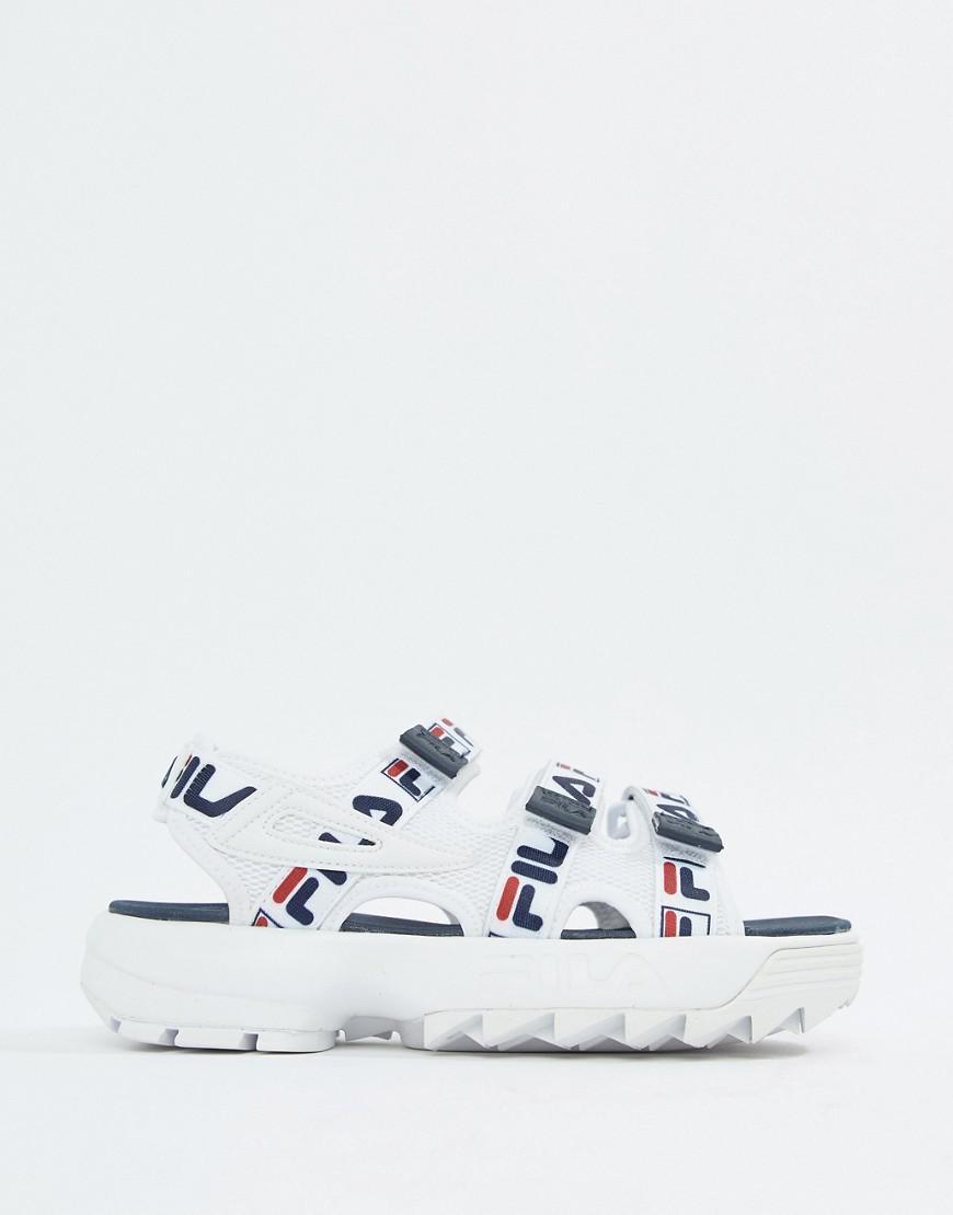 952006f4d0f3 Lyst - Fila White Logo Strap Disruptor Sandal in White