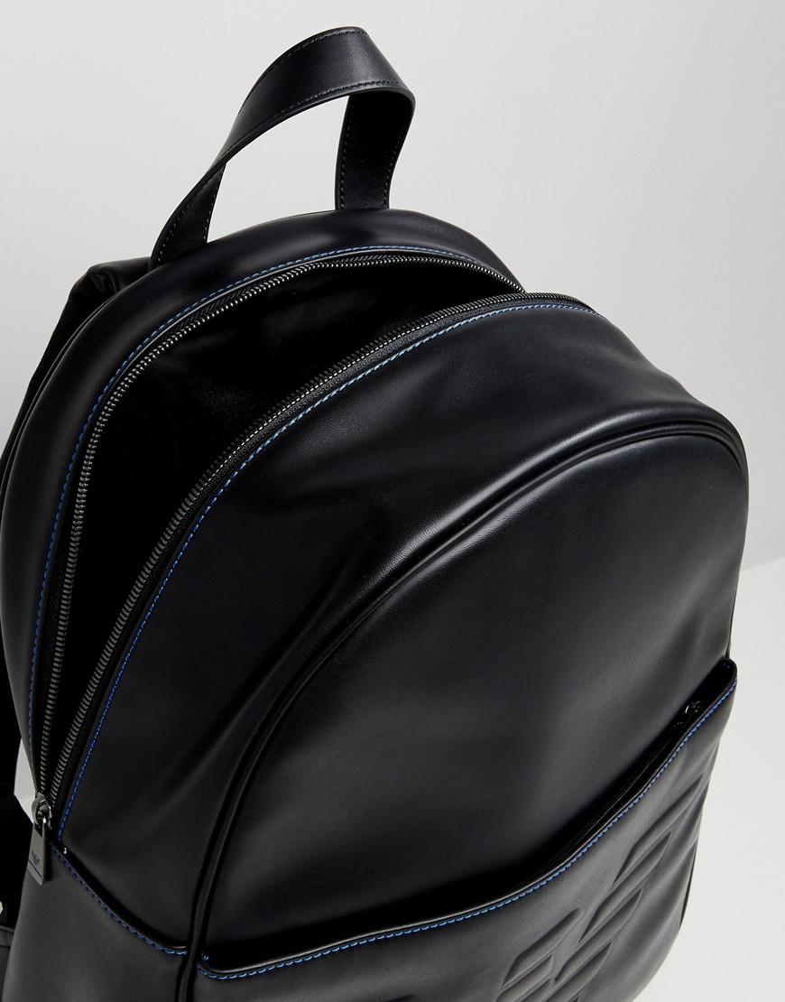 c6cdb2a20cdd Emporio Armani Logo Embossed Backpack in Black for Men - Lyst
