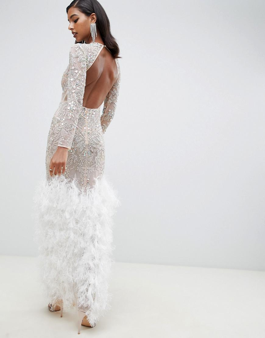 b8d71331f9b ASOS Embellished Sequin Maxi Dress With Faux Feather Trim in Natural - Lyst
