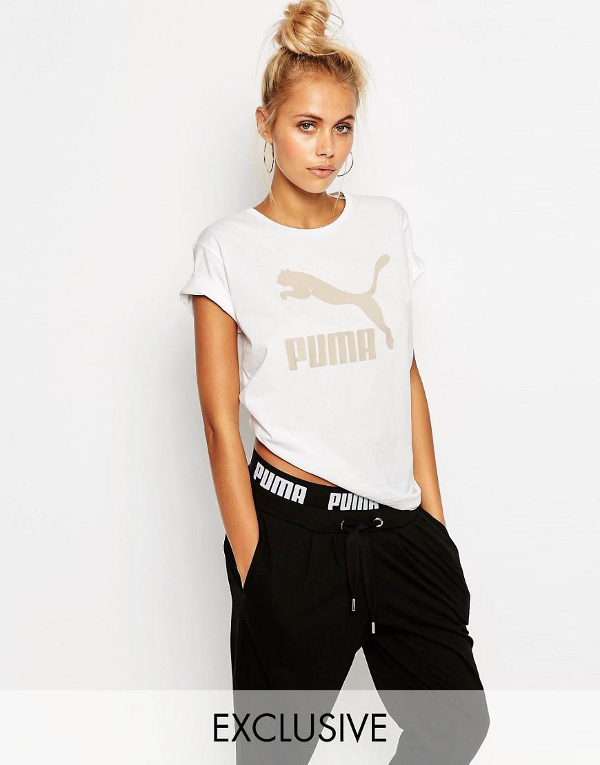 Puma Oversized Boyfriend T-shirt With Gold Foil Logo in ...