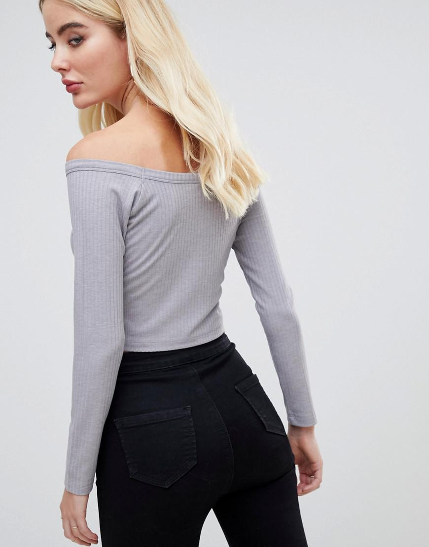 95497aab9c2 Lyst - ASOS Long Sleeve Off Shoulder Bardot Top In Rib With Button Popper  Front in Gray