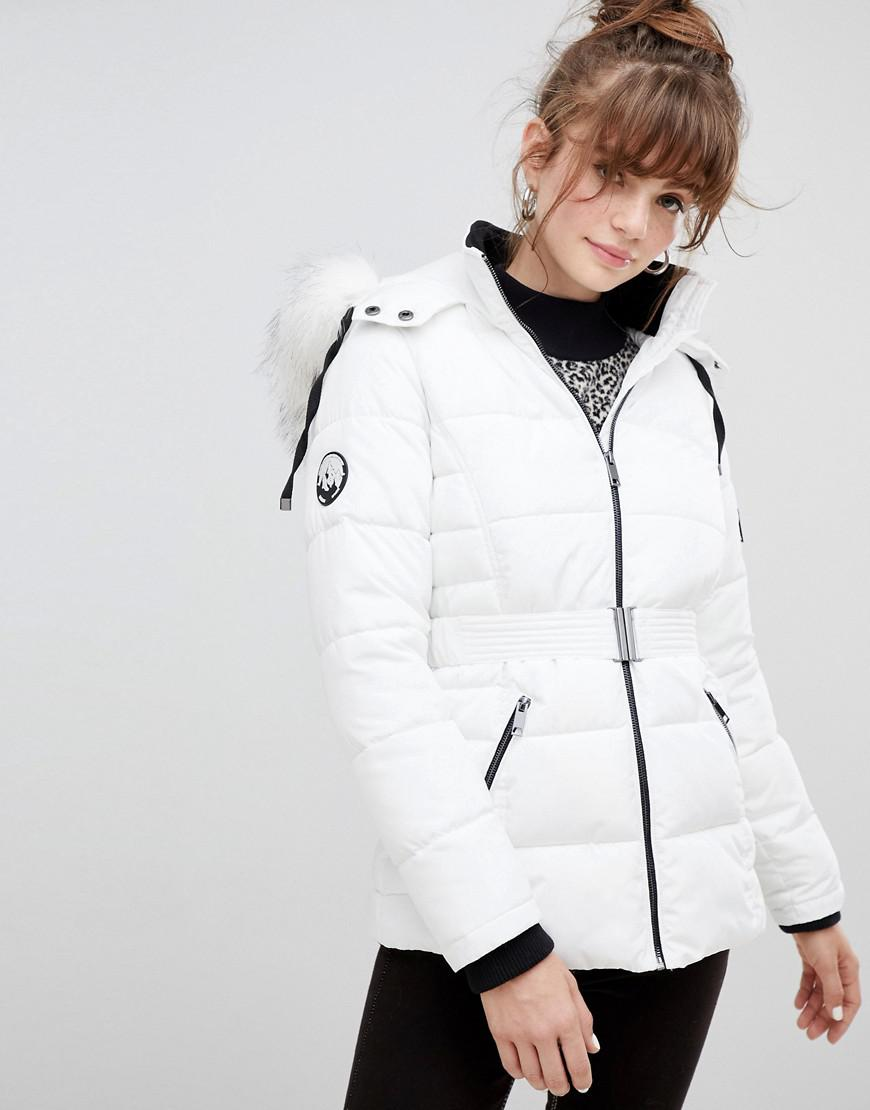 614ab4cb7b9 New Look Faux Fur Belted Padded Coat in White - Lyst
