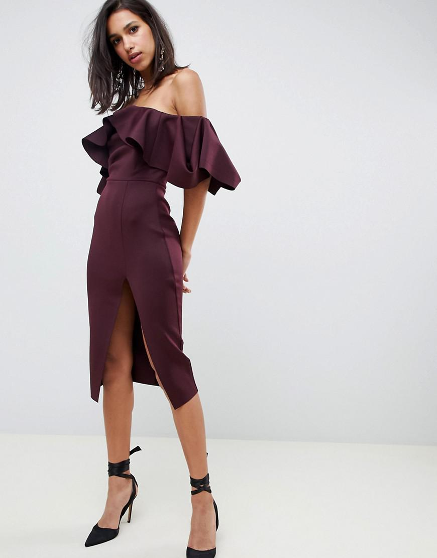 53afb36f89a4d2 ASOS Extreme Ruffle Bardot Midi Dress With Concertina Neckline in ...