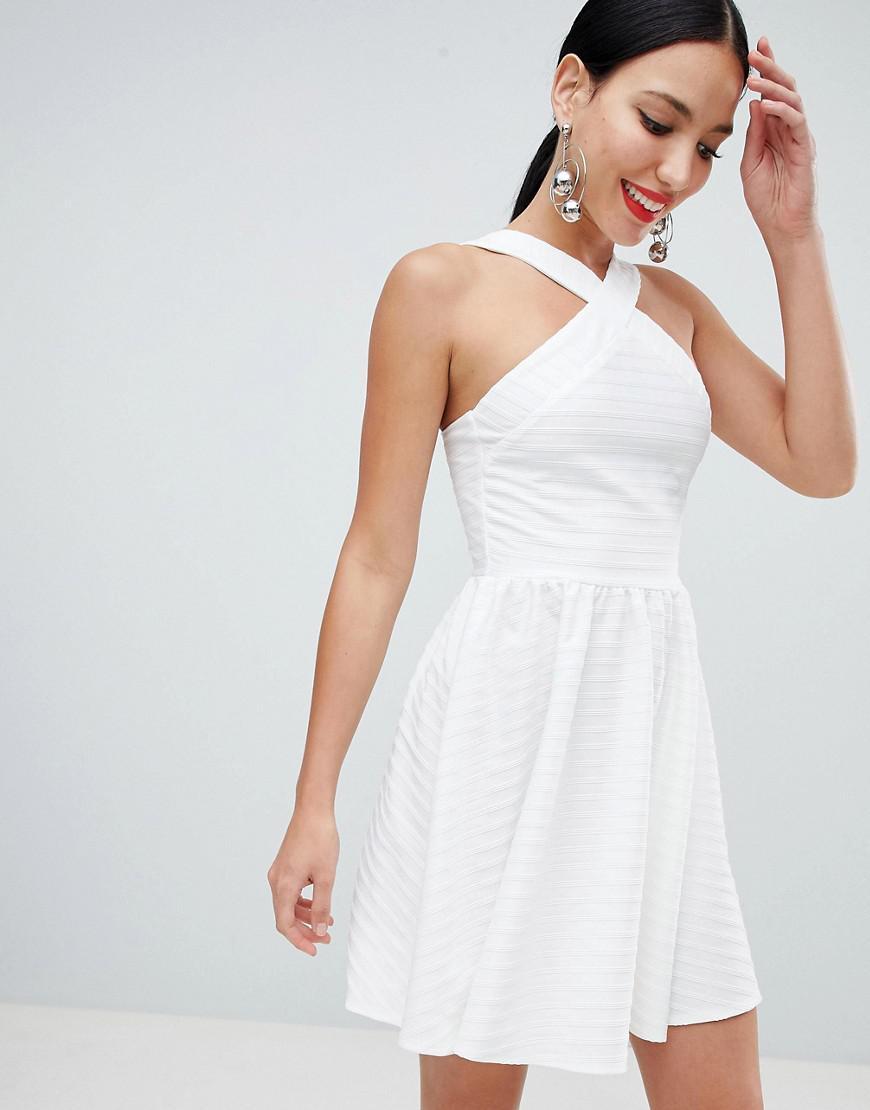 ea3cb42f9f ASOS Cross Neck Bandage Mini Skater Dress in White - Lyst