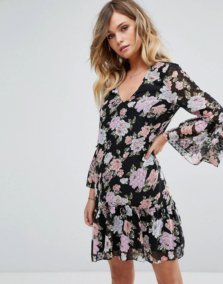 Authentic Cheap Online Floral Printed Dobby Mesh Smock Dress - Print Miss Selfridge For Sale Official Site Lowest Price RYNc32vff