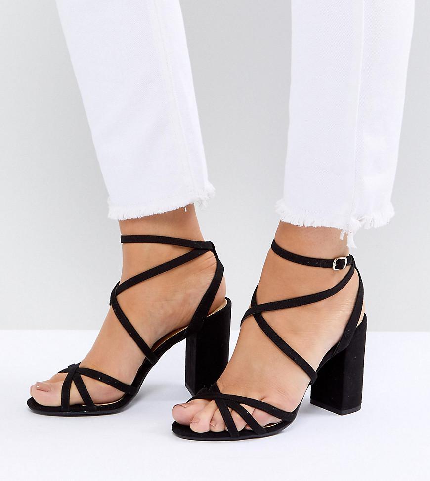 d6ade5c3b32 New Look Multi Strap Block Heel Sandals in Black - Lyst