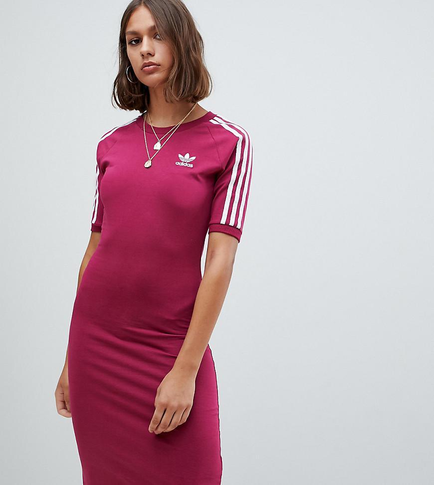 3696f1d75635 Adidas Originals - Red Three Stripe Midi Dress In Ruby - Lyst. View  fullscreen